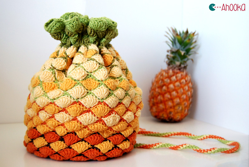 Crochet Pouch : Pineapple crochet bag - Pattern for win ! Ahookamigurumi