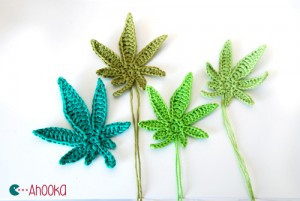Pot leaves crochet applique by ahooka