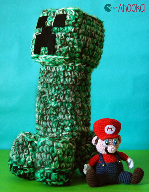 creeper and mario amigurumi by ahooka