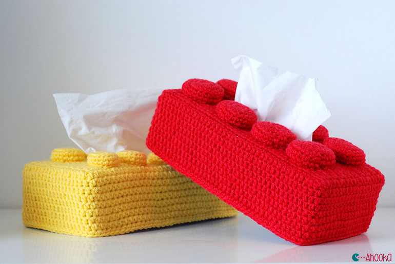 How To Crochet A Lego Brick Tissue Box Cover tutorial