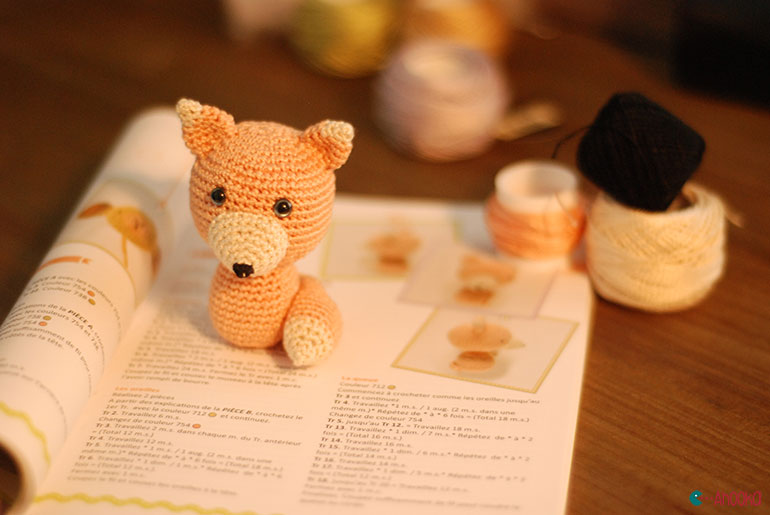 crochet fox by ahooka