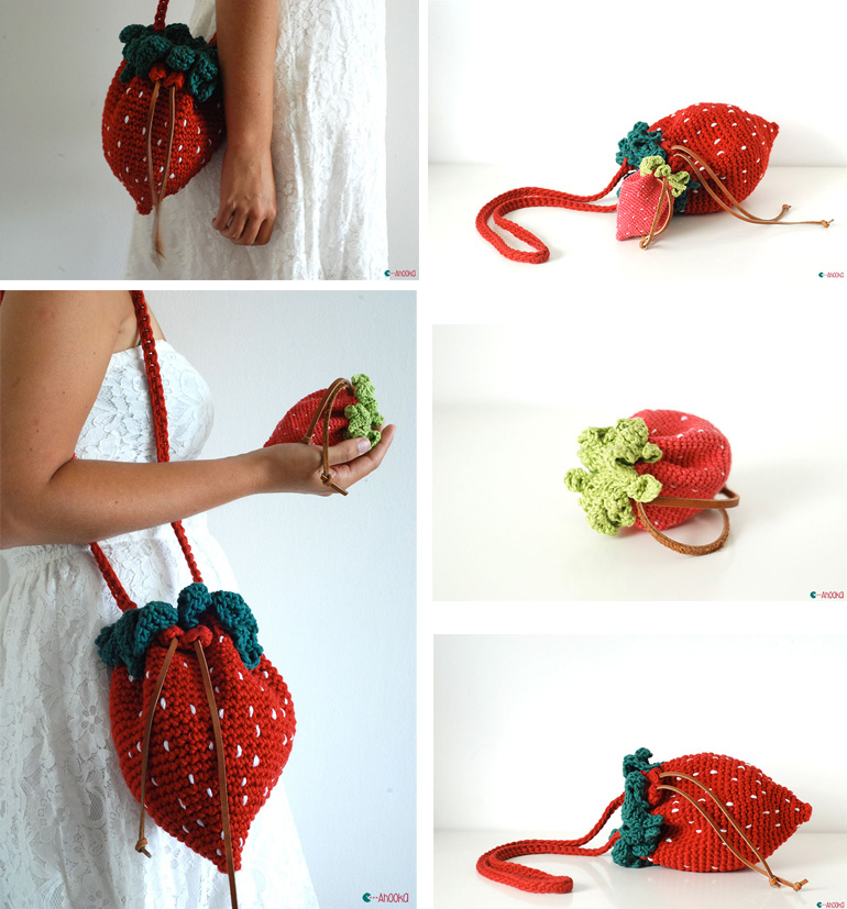 Strawberry Crochet Bag And Purse Ahookamigurumi