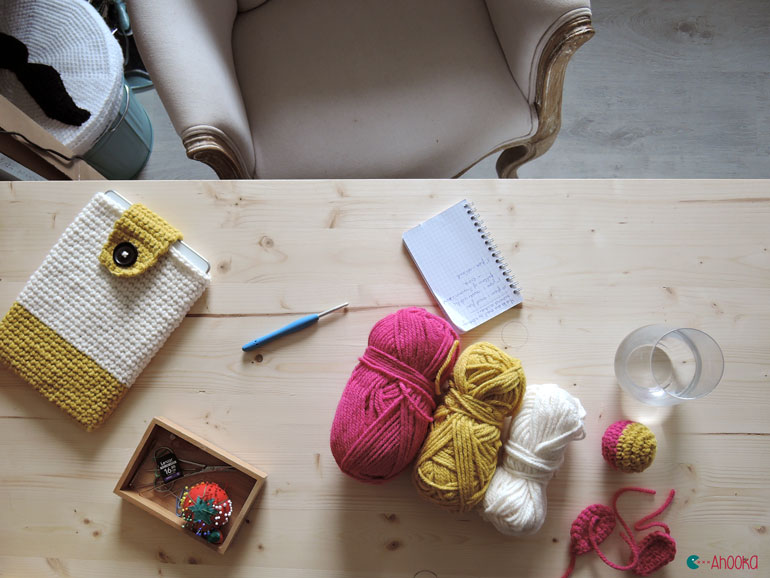 crochet workspace